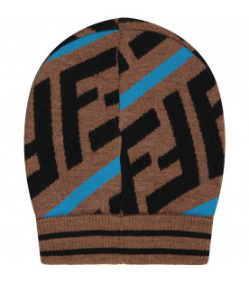 Brown kids beanie hat with FF and blue stripes