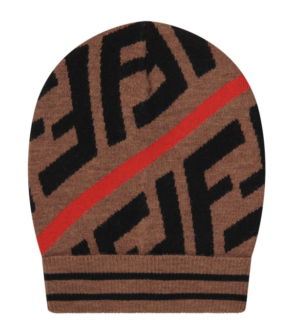 FENDI KIDS Brown kids beanie hat with FF and red stripes