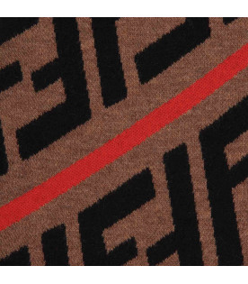 FENDI KIDS Brown kids scarf with FF and red stripes