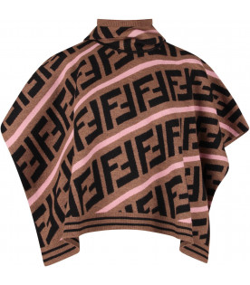 FENDI KIDS Brown kids cape with FF and pink stripes