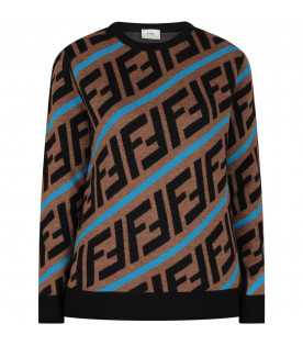 FENDI KIDS Brown kids sweater with FF and blue stripes