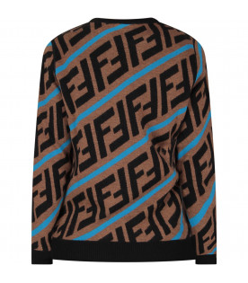 Brown kids sweater with FF and blue stripes