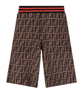 FENDI KIDS Brown kids shorts with FF