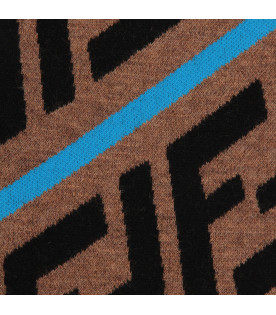 FENDI KIDS Brown kids scarf with FF and blue stripes