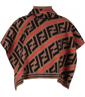 FENDI KIDS Brown kids cape with FF and red stripes