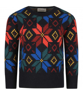 Black kids sweater with colorful jaquard embroideries
