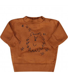 BOBO CHOSES Camel babykids sweatshirt with blue bear