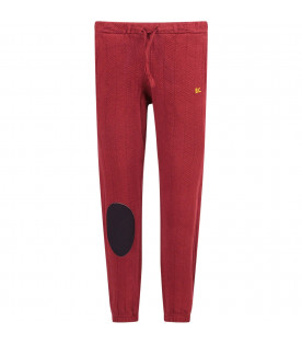 BOBO CHOSES Burgundy boy sweatpants with yellow logo