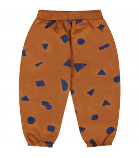 BOBO CHOSES Camel babykids pants with blue geometric figures