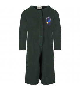 BOBO CHOSES Green girl jumpsuit with patch