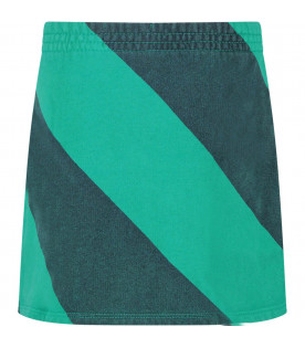 Green striped girl skirt