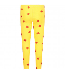 BOBO CHOSES Yellow girl leggings wth red saturn