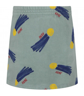 BOBO CHOSES Sage green girl skirt with all-over print