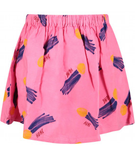 BOBO CHOSES Pink girl skirt with yellow all-over sun