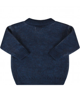 BOBO CHOSES Blue baby boy sweater with logo