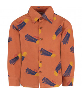 BOBO CHOSES Brown boy shirt with yellow sun