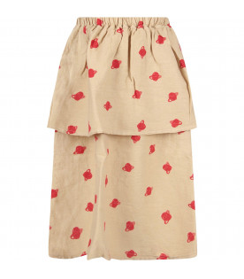 Beige girl skirt with red Saturn