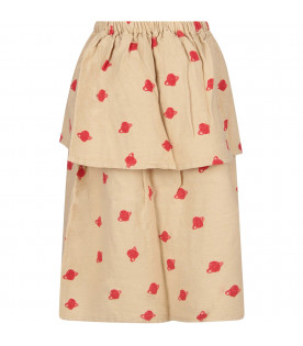 BOBO CHOSES Beige girl skirt with red Saturn