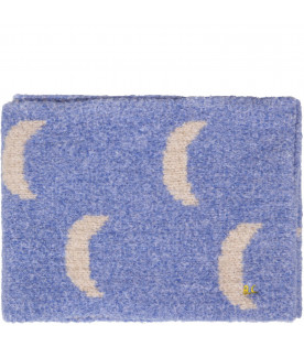BOBO CHOSES Blue kids scarf with white moons