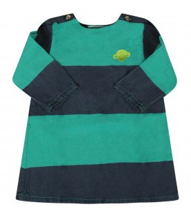 BOBO CHOSES Green striped baby girl dress