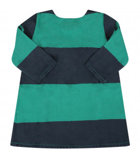 Green striped baby girl dress