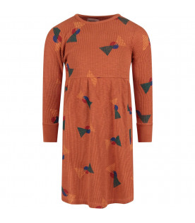 BOBO CHOSES Rust girl dress with all-over print