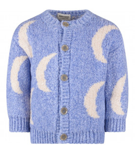 Light blue kids cardigan with moon