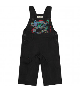 KENZO KIDS Black babyboy overall with japanese dragon
