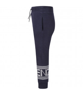 KENZO KIDS Blue boy sweatpant with white logo