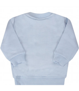 KENZO KIDS Light blue babyboy sweatshirt with iconic tiger
