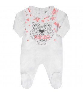 KENZO KIDS White babygirl babygrow with iconic tiger