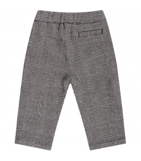 ARMANI JUNIOR Pied de pul babyboy pants with white logo