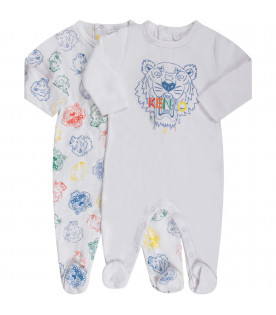 KENZO KIDS Set bianco per neonata con iconica tigre colorata
