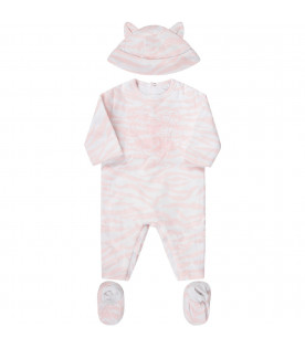 KENZO KIDS Pink and white babygirl suit with tiger