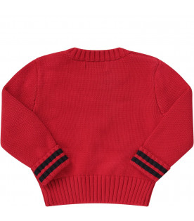 RALPH LAUREN KIDS Red babyboy sweater with logo