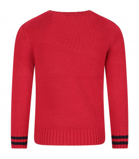 Red boy sweater with logo