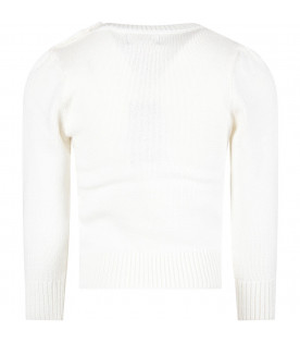 RALPH LAUREN KIDS Ivory girl sweater with bear