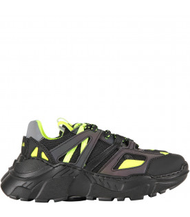 Black kids sneaker with neon yellow logo