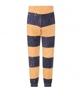 BOBO CHOSES Blue and camel striped boy sweatpants