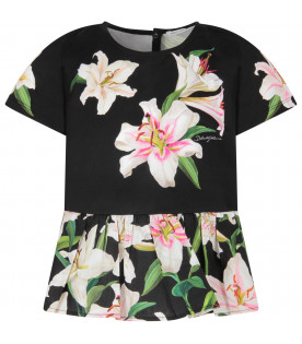 Black girl blouse with colorful lillies