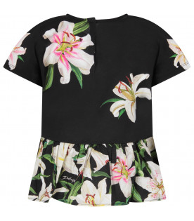 DOLCE & GABBANA KIDS Black girl blouse with colorful lillies