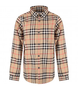 BURBERRY KIDS Beige boy shirt with vintage check