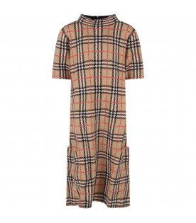 Beige girl dress with vintage check