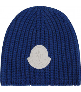 Azure kids hat with white logo