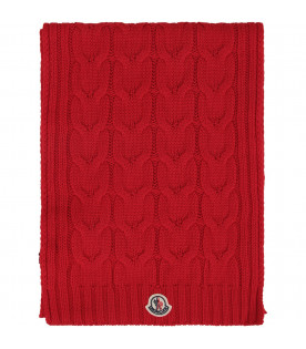 Red kids scarf with logo