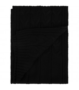 Black kids scarf with logo