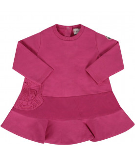 Fucshia babygirl dress with iconic patch