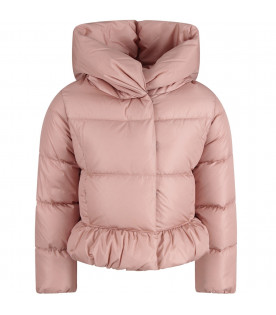 MONCLER KIDS Pink girl jacket with  iconic patch