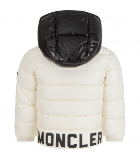 MONCLER KIDS White boy jacket with black logo
