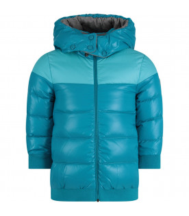 MONCLER KIDS Turquoise girl jacket with iconic patch